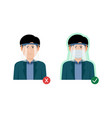 correct and wrong way to using a plastic face vector image vector image