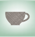 cup sign brown flax icon on green vector image vector image
