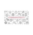cybersecurity concept outline horizontal vector image