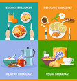 flat 2x2 breakfast icons set vector image vector image
