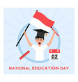 flat indonesian national education day vector image vector image