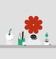 flower and household items flat design style vector image