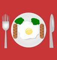 fried eggs plate fork and knife breakfast vector image