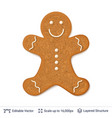 gingerbread cookie man isolated on white vector image