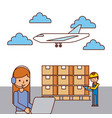 girl worker laptop and man boxes airplane vector image vector image