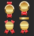 golden award medal with red ribbons set vector image
