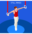 Gymnastics Still Rings 2016 Summer Games 3D vector image