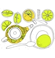 hand-draw teapot and cup set - green tea vector image