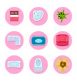 icon set on flat design theme vector image