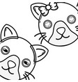 line cute cat couple animal together vector image
