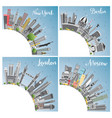 london berlin moscow and new york city skyline vector image vector image