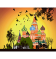 lot of people walking on the Red Square at sunset vector image