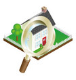 magnifying glass house search concept vector image vector image