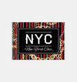 nyc slogan typography on gold chain pattern vector image vector image