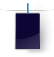 Photo frame hanging on a line vector image vector image