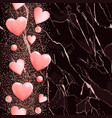 pink hearts on marble seamless vertical border vector image vector image