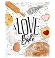 poster love bake vector image