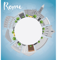 Rome skyline with grey landmarks and copy space vector image