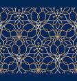 seamless linear golden flower pattern on blue vector image vector image