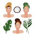 set beautiful woman faces for skincare beauty