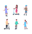 set diverse kind sport boy girl riding over white vector image vector image
