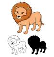 set lion cartoon vector image