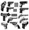 set of handgun revolver design elements for logo vector image vector image