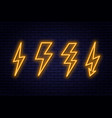 set of neon lightning bolt signs neon sign of vector image