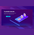 site template for planner online schedule vector image vector image