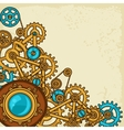 steampunk collage metal gears in doodle style vector image