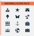summer icons set with camera shorts suitcase and vector image