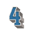 three-dimensional number four dotted in blue color vector image