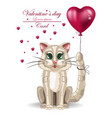 valentine day cute kitty card happy vector image vector image