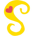 Valentine Lowercase s vector image vector image