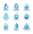 water logos aqua drops and splashes vector image vector image