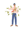 wealthy person throw cash money isolated character vector image