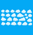 white clouds bubble on blue sky flat cartoon set vector image