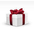 White Gift Box with Red Burgundy Ribbon Isolated vector image vector image