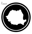 white map of romania on black circle vector image vector image