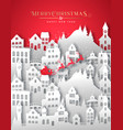 year paper cut winter snow city vector image vector image