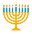 yellow hanukkah menorah with blue candles icon vector image vector image