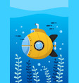 yellow submarine undersea with fishes vector image vector image