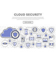 network cloud security linear style infographics vector image