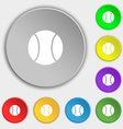 baseball icon sign Symbol on eight flat buttons vector image