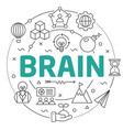 line flat circle brain vector image