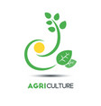 agriculture business logo template green leaf vector image