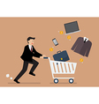 Businessman add a clothing and accessories into vector image vector image