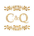 c and q vintage initials logo symbol the letters vector image