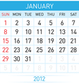 calendar in january on white background for vector image vector image