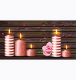 candles and hearts romantic background valentine vector image
